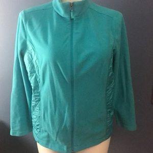 Talbots turquoise zip up 1X sweatshirt